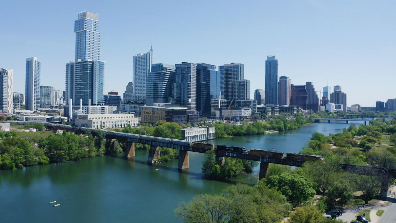 Vista do horizonte de Austin, Texas