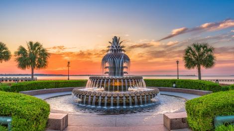 A famosa Pineapple Fountain, em Charleston, Carolina do Sul