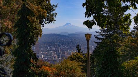 Vista do Mount Hood e Portland, Oregon