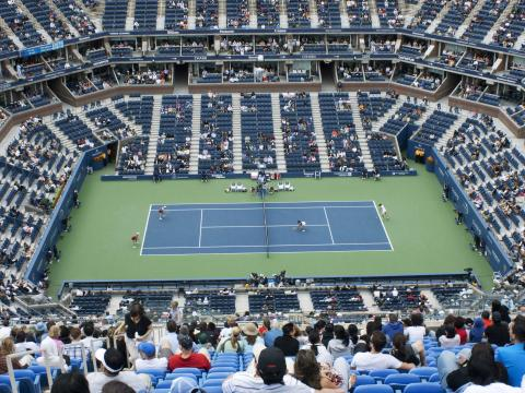 Vista da quadra no US Open Tennis Championships (Campeonatos de Tênis US Open)