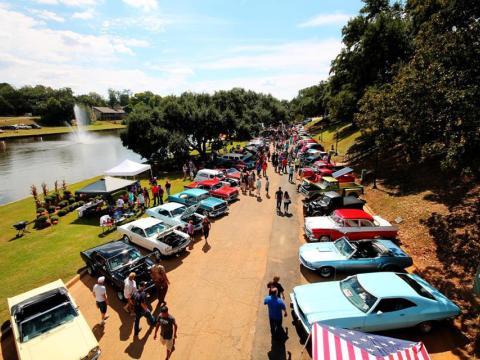 Conferindo carros clássicos durante a Exposição de carros de Natchitoches
