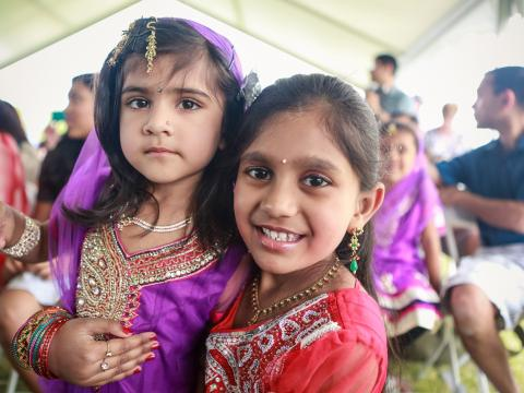 Children attending the Gilbert Global Village Festival in traditional dress
