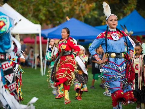 Traditional dancing and costumes at the Labor Day Stockton Community Pow Wow