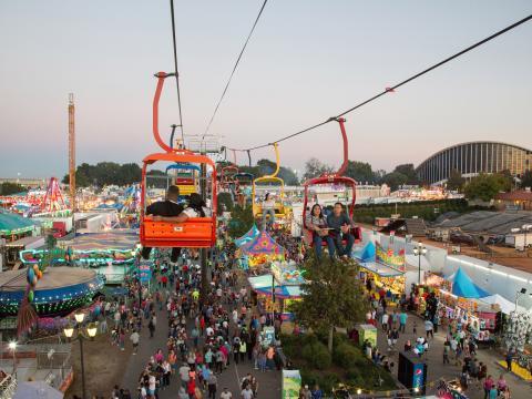 Passeio de bondinho na North Carolina State Fair em Raleigh