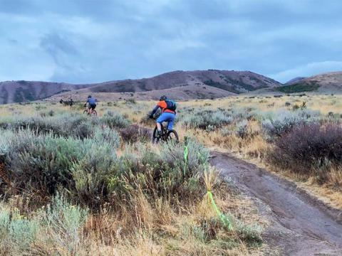 Ciclismo estilo mountain biking durante a Pocatello Fall Ultra, em Idaho