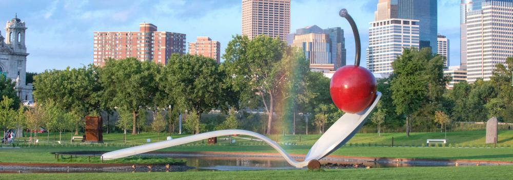 Fonte escultural Spoonbridge and Cherry em Minneapolis, Minnesota